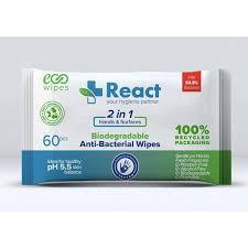 REACT 2 in 1 Antibacterial Wipes (BOX OF 24 PACKS)