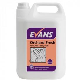 Evans Vanodine Orchard Fresh Refreshing Hand, Hair and Body Wash, Grapefruit, Mandarin & Apple  A153EEV2 1x5Litre