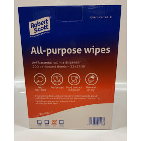 All Purpose Antibacterial Wipes (Box of 200)  (Red)