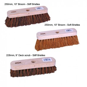 "Standard Broom & Deck Scrub 250mm, 10"" Broom - stiff bristles. With 1200mm handle"