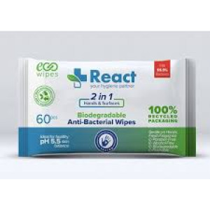 REACT 2 in 1 Antibacterial Wipes (BOX OF 24 PACKS)