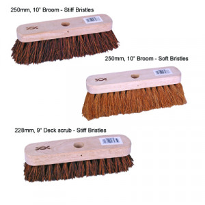"Standard Broom & Deck Scrub 250mm, 10"" Broom - stiff bristles. With 1200mm handle"