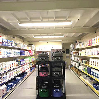 Interior photo of the trade counter at MR Cleaning, Telford